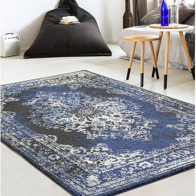 Gries Oriental Anthracite/Blue Area Rug Rug Size: Rectangle 52 x 72