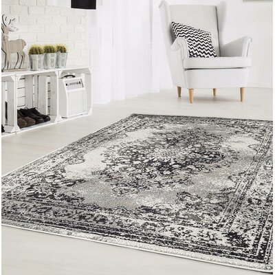 Gries Oriental Anthracite Area Rug Rug Size: Rectangle 52 x 72