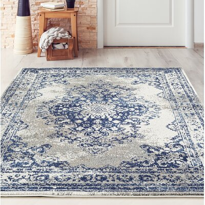 Gries Oriental Dark Blue Area Rug Rug Size: Rectangle 52 x 72