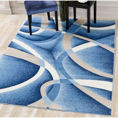 Squires Swirls Abstract Blue Area Rug Rug Size: Rectangle 65 x 92