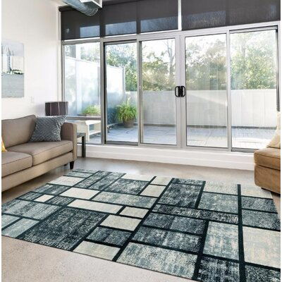 Hendren Geometric Grayish Blue Area Rug Rug Size: Rectangle 52 x 72