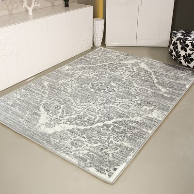 Joines Distressed Silver/White Area Rug Rug Size: Rectangle 65 x 92