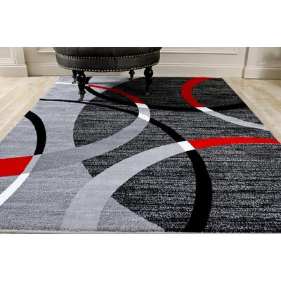 Cobbett Abstract Gray/Black Area Rug Rug Size: Rectangle 52 x 72