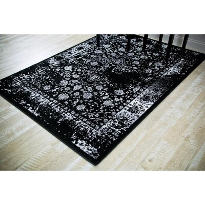 Durrah Distressed Gray/Black Area Rug Rug Size: Rectangle 52 x 72
