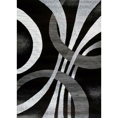 Cockfosters Modern Abstract Gray/Black Area Rug Rug Size: Rectangle 65 x 92