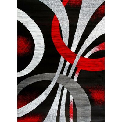 Coatsworth Modern Abstract Black/Red Area Rug Rug Size: Rectangle 2 x 34