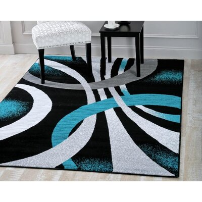 Aldridge Modern Abstract Black/Turquoise Area Rug Rug Size: Rectangle 52 x 72