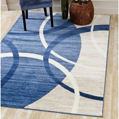 Cobbins Abstract Blue/Cream Area Rug Rug Size: Runner 22 x 74