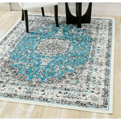 Dussault Oriental Blue Area Rug Rug Size: Rectangle 52 x 72