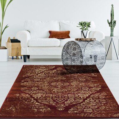 Hirano Distressed Burgundy Area Rug Rug Size: Rectangle 710 X 106