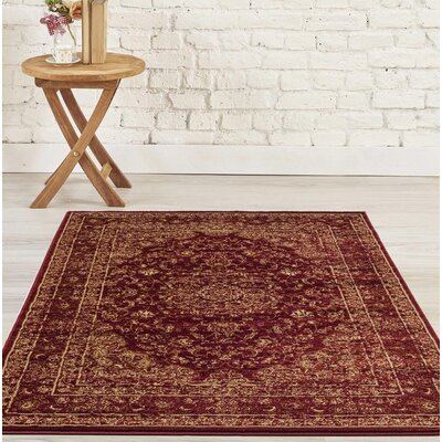 Hirano Distressed Burgundy Area Rug Rug Size: Rectangle 52 x 72