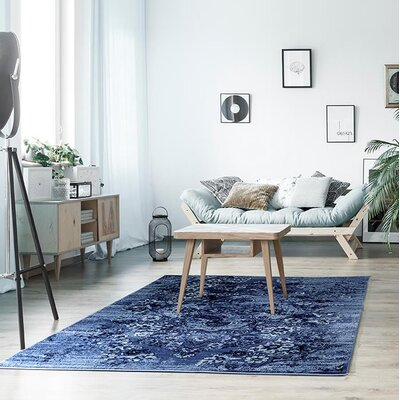 Hirano Distressed Denim Area Rug Rug Size: Rectangle 52 x 72
