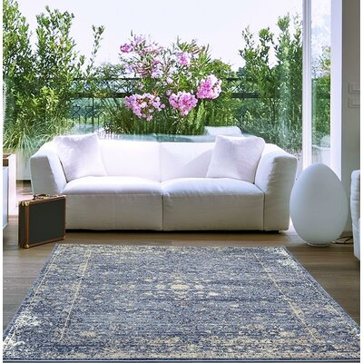 Hirano Distressed Blue Area Rug Rug Size: Rectangle 52 x 72