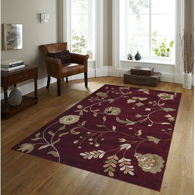 Tobis Burgundy Area Rug Rug Size: Rectangle 52 x 72