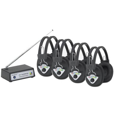 Multi Frequency 4 Station Wireless Listening Centre with Headphones and Bluetooth Transmitter W4-BT