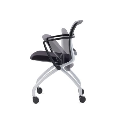 Zego Mid-Back Mesh Nesting chair (Set of 2) Frame Finish: Black, Upholstery: Grey