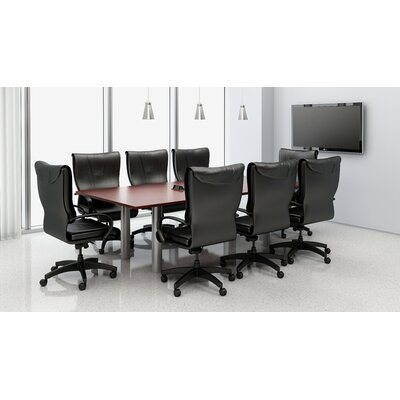 9 Piece Rectangular Conference Table Set Top Finish: Mahogany