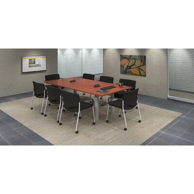 9 Piece Rectangular Conference Table Set Top Finish: Cherry