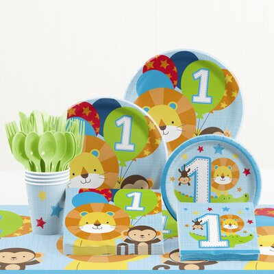 81 Piece One Is Fun Boy 1st Birthday Paper/Plastic Tableware Set DTC2649E2A