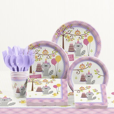 81 Piece Happi Woodland Girl Birthday Paper/Plastic Tableware Set DTC5671C2A