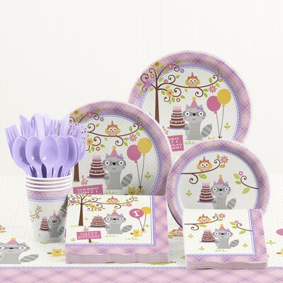 81 Piece Happi Woodland Girl 1st Birthday Plastic/Paper Tableware Set DTC5671C2B