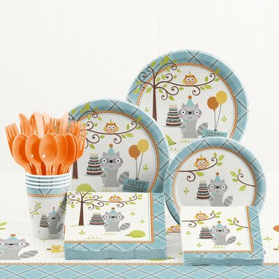 81 Piece Happi Woodland Boy Birthday Plastic/PaperTableware Set DTC5670C2A