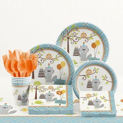 81 Piece Happi Woodland Boy 1st Birthday Plastic/Paper Tableware Set DTC5670C2B