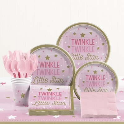 81 Piece One Little Star Girl Birthday Plastic/Paper Tableware Set DTC2330E2A