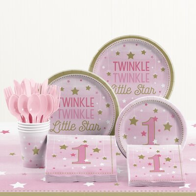 81 Piece One Little Star Girl 1st Birthday Plastic/Paper Tableware Set DTC2330E2B