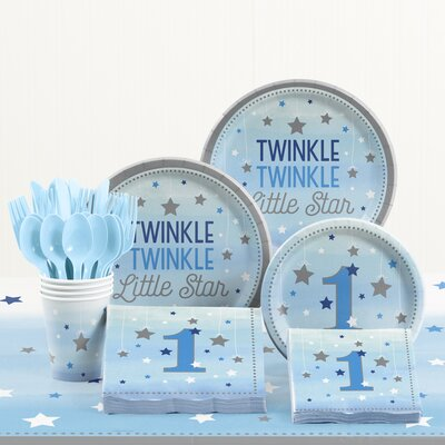 81 Piece One Little Star Boy 1st Birthday Plastic/Paper Tableware Set DTC2329E2B