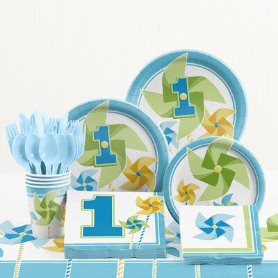 81 Piece Turning One Boy 1st Birthday Plastic/Paper Tableware Set DTC5511C2A