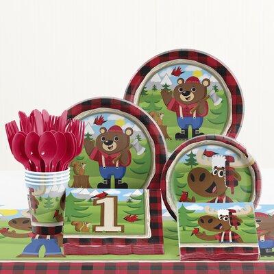 81 Piece Lum-Bear Jack 1st Birthday Paper/Plastic Tableware Set DTC2290E2B