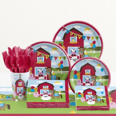 81 Piece Farmhouse Fun Birthday Paper/Plastic Tableware Set DTC5506C2A