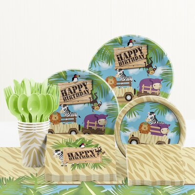 81 Piece Safari Adventure Birthday Paper/Plastic Tableware Set DTC5520C2A