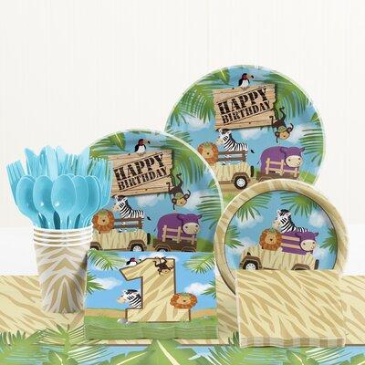 81 Piece Safari Adventure 1st Birthday Paper/Plastic Tableware Set DTC5520C2B