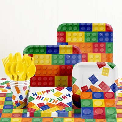 81 Piece Block Party Birthday Paper/Plastic Tableware Set DTC1012E2A