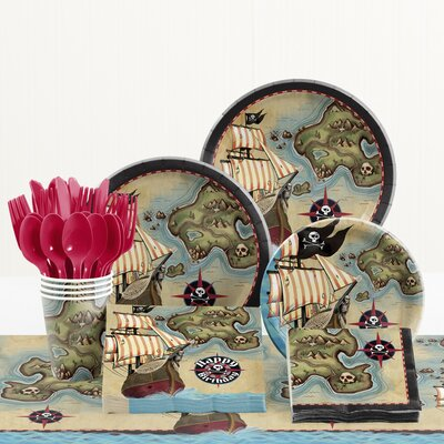 81 Piece Pirate's Map Birthday Paper/Plastic Tableware Set DTC5969C2A