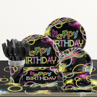 81 Piece Glow Party Birthday Paper/Plastic Tableware Set DTC1858E2A
