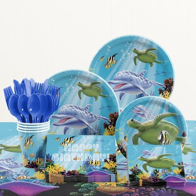 81 Piece Ocean Party Birthday Paper/Plastic Tableware Set DTC5325C2A