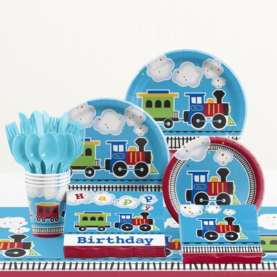81 Piece All Aboard Birthday Paper/Plastic Tableware Set DTC2575E2A