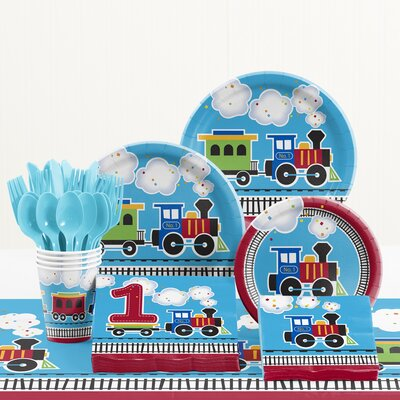 81 Piece All Aboard 1st Birthday Paper/Plastic Tableware Set DTC2575E2B
