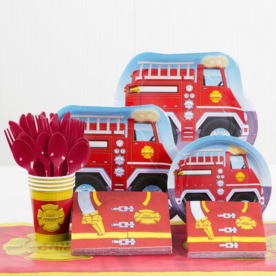 81 Piece Firefighter Birthday Paper/Plastic Tableware Set DTC5771C2A