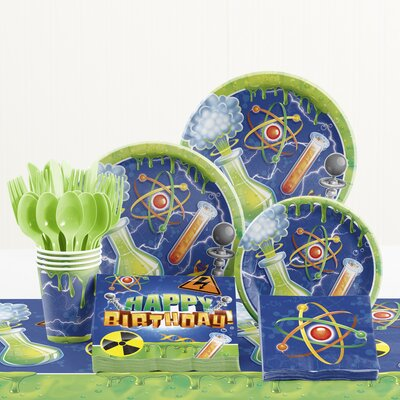 81 Piece Mad Scientist Birthday Paper/Plastic Tableware Set DTC1785E2A
