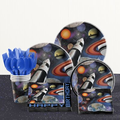 81 Piece Space Blast Birthday Paper/Plastic Tableware Set DTC5533C2A