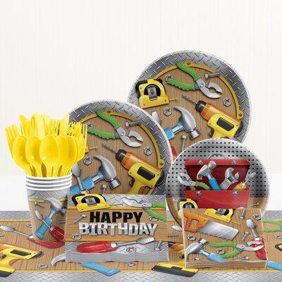 81 Piece Handyman Birthday Paper/Plastic Tableware Set DTC2291E2A