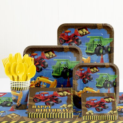 81 Piece Under Construction Birthday Paper/Plastic Tableware Set DTC5955C2A