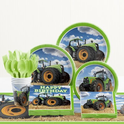 81 Piece Tractor Time Birthday Paper/Plastic Tableware Set DTC1853E2A
