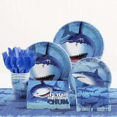 81 Piece Shark Splash Birthday Paper/Plastic Tableware Set DTC5887C2A