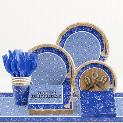 81 Piece Bandana Cowboy Birthday Paper/Plastic Tableware Set DTC1780E2A