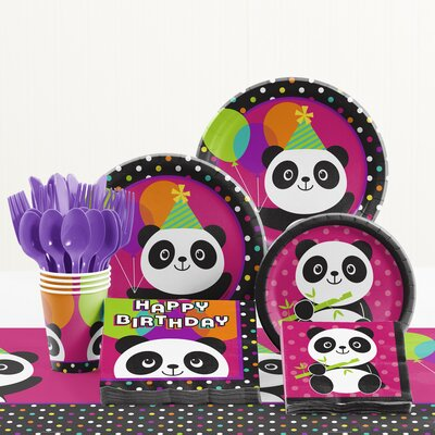 81 Piece Panda-Monium Birthday Paper/Plastic Tableware Set DTC2325E2A